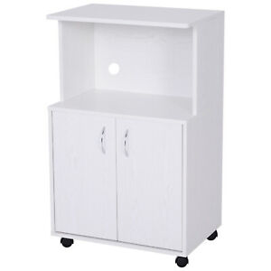Mobile Kitchen Cabinet Wooden Microwave Storage Cupboard Portable Shelves White