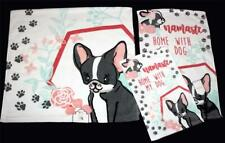 3-Pc Kassafina Boston Terrier Home With My Dog Bath Hand Fingertip Towels NWT