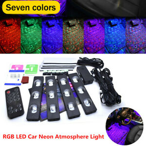 RGB LED Car SUV Interior Neon Atmosphere Strip Light Lamp Music Remote Control