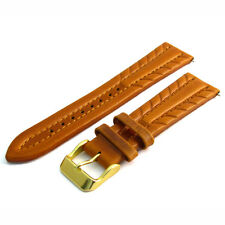 Superb!  Heavy Padded oiled leather watch strap band 20mm Tan g D019