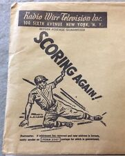 Vintage 1940 RADIO WIRE TELEVISION INC NYC Promo Envelope With Baseball Theme