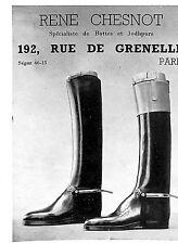 PARIS GRENELLE BOTTES EQUITATION RENE CHESNOT BOOTS RIDING PUBLICITE 1938