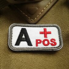 2 pcs Military Blood Type A+ Positive Tactical Army Embroidered PATCH/BLCK
