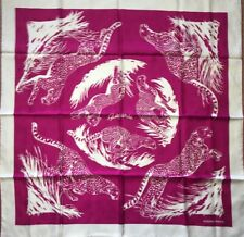 Authentic Hermes Silk Scarf 90cm Guepards Tattoo NEW Fuchsia Pink White JACQUARD