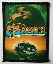SAXON Original Vintage 1980`s Sew On Photo Card Patch NWOBHM not shirt lp badge