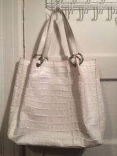 Tosca Blue white leather tote bag handbag Italy medium size