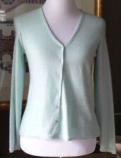 Eileen Fisher Baby Aqua Blue 100% Cashmere Near Tissue Weight Cardigan PM