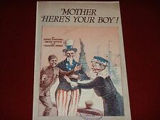 1918 Vintage Ww1 Mother Here'S Your Boy Sheet Music Pub. by Leo Feist