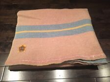 Vtg Wool Blanket Ayers Canada 42 x 72 Pink Blue Striped Reversible Quilt