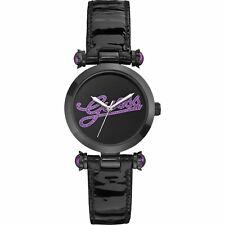 Guess Women's Purple Glitz Logo w/ Black Patent Leather Band 33 mm Watch
