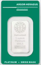 31,1 Gramm Platinbarren ARGOR-HERAEUS  999.5 mit Zertifikat / Aurofix