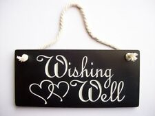 RUSTIC VINTAGE WOODEN WEDDING SIGN ENGRAVED ' WISHING WELL'