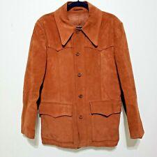 Vtg Suede Ranch Coat Jacket Lining Leather Button Men L 42 Brown Western Hipster