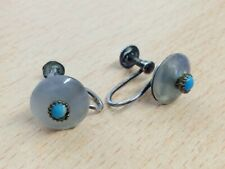 ANTIQUE 935 SILVER CHALCEDONY & TURQUOISE SCREW FITTING EARRINGS 1880
