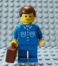 LEGO Classic Town Citizen Minifig Blue Suit & Brown Hair w/ Briefcase Suitcase
