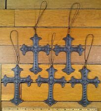 5 Fleur De Lis CROSSES Rustic Brown Tin Metal Wall Cross Decor 5-1/4x4 christian