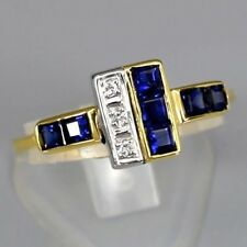 1.05 Carat t.w Natural Royal Blue SAPPHIRE RING With DIAMOND 14K Solid Gold