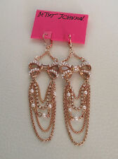 NWT Betsey Johnson Crystal Vintage Bows Pearl Earrings Rose Gold chain Drop