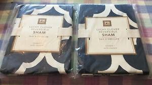 Pottery Barn PB Teen Lucky Clover Reversible Shams set of 2 New