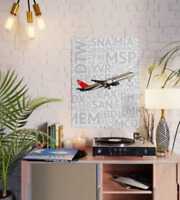 "Northwest Airlines Boeing 757 with Airport Codes - 18"" x 24"" Poster"