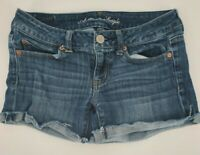 American Eagle Cuffed Cut off Low Rise Denim Stretch Blue Jean Shorts ize 4 EUC