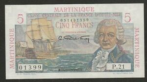 1947/49 MARTINQUE 5 FRANC NOTE UNC