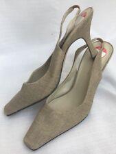 """Shoes ANNE KLEIN  3.5"""" Square Slingback Pumps TAN BRONZE Fleck NATURAL Linen 7.5"""