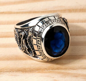 JAPANESE TIGER DRAGON 925 STERLING SILVER MENS RING BLUE SAPPHIRE BIKER ROCKER