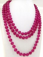 100'' Handmade 8mm Rose Red Jade Round Gemstone Beads Knotted Necklace