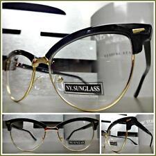 CLASSIC VINTAGE RETRO CAT EYE Style Clear Lens EYE GLASSES Black & Gold Frame