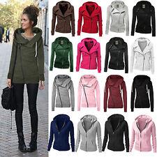 Donna Manica Lunga Zip Felpa con cappuccio cappotto giacca maglione
