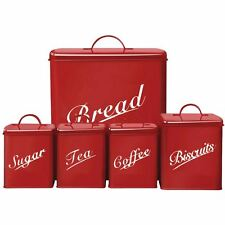 Canister Set 5 Piece Red Bread Sugar Coffee Tea Biscuits Kitchen Bins Tins