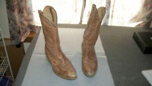 Vintage Leather Cowboy Boots 11 1/2 D 11.5 Brown USA Made Western