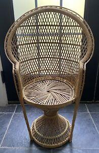 "Large Child/Doll Peacock Fan Back Rattan Chair Boho 30"" High, Rare"