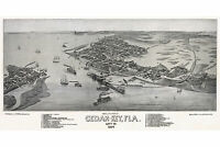 Cedar Key, Florida; Antique Map 1884; Birdseye View