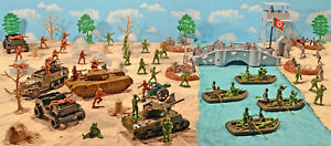 """WWII A Bridge Too Far set #2 - """"Waal River Crossing"""" - 54mm Plastic Toy Soldiers"""