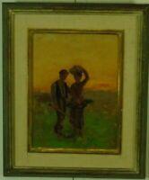 """Jules Breton zugeschrieben """"Paar auf dem Feld"""" Ölgemälde, beschriftet"""
