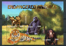 Gambian Monkeys Wild Animal Sheet Postal Stamps
