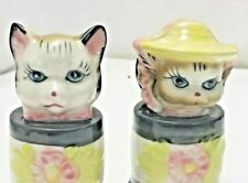 Rare! Japan Cute Kitty Cats Squeaker Anthropomorphic Salt & Pepper Shakers
