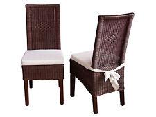 2 Rattanstühle inkl. Sitzkissen Esszimmerstühle Essgruppe Stuhl Stühle Rattan