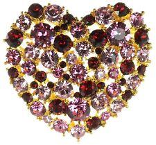 Kenneth J Lane KJL Crystal Heart Pin Brooch