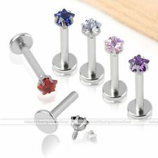 6x 16g CZ Gem Star Stainless Steel Monroe Lip Labret Ring Studs Barbell Piercing