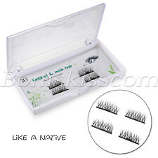 2 Pairs Magnetic False Eyelashes Natural Mink Hair Reusable Eye Lashes Extension