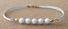 WHITE AGATE 6mm Beads, White Leather Cord, Gold Tone Plated, Friendship Bracelet