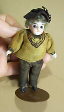 """Little 3 3/4"""" All Bisque Boy Doll, Glass Eyes, Original Outfit"""