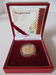 2013 South Africa 1/4oz GOLD PROOF KRUGERRAND COIN Cert 0098 & Presentation Case