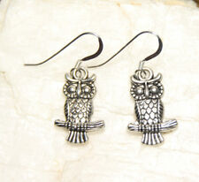 Owl Earrings bird wing Hook Hoot 925 sterling silver hooks pewter charms