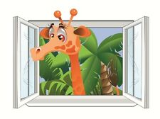 Kid's Room Mural Wall Tattoo with Zoo Jungle Giraffe on the Window