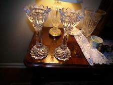CRYSTAL CANDLESTICK HOLDERS TALL . HIGHER END NO MARKING. BEAUTIFUL!!!