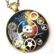 Steampunk antique bronze pendant with REAL COGS set in RESIN-HAND PAINTED gift